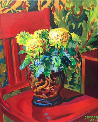 Chrysanthemums On Red Chair Poster