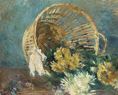 Chrysanthemums Or The Overturned Basket Poster by Berthe Morisot