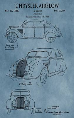 Chrysler Airflow Patent Blue Poster by Dan Sproul