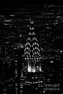 Chrysler Art Deco Building Illuminated At Night New York City Poster