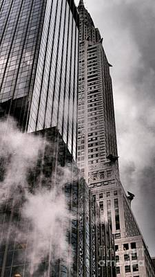 Chrysler Building With Gargoyles And Steam Poster by Miriam Danar