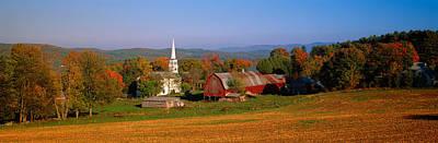 Church And A Barn In A Field, Peacham Poster