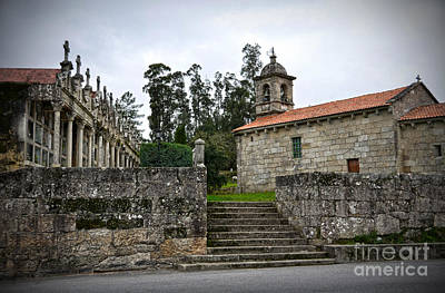 Church And Cemetery In A Small Village In Galicia Poster