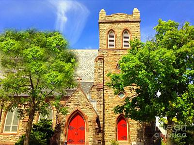Poster featuring the photograph Church And Red Doors by Becky Lupe