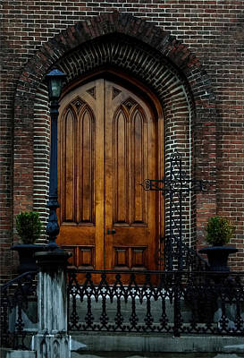 Church Arch And Wooden Door Architecture Poster by Lesa Fine