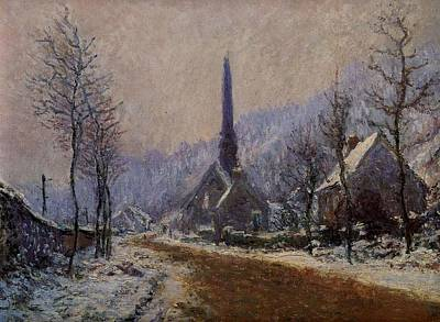 Church At Jeufosse Snowy Weather 1893 Restored Poster by Claude Monet - L Brown