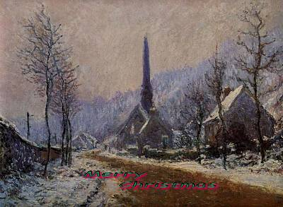 Church At Jeufosse Snowy Weather Restored Merry Christmas Poster by Claude Monet - L Brown