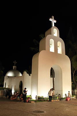 Church At Night In Playa Del Carmen Poster by Roupen  Baker