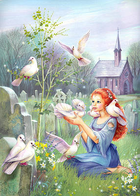 Church Doves Poster by Zorina Baldescu