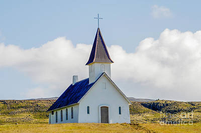 Church In Deserted Landscape In Iceland Poster by Patricia Hofmeester