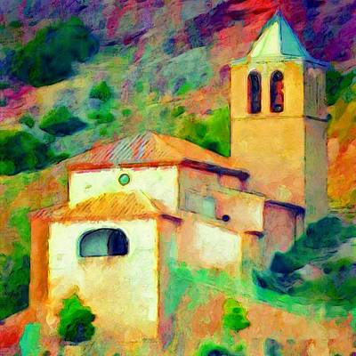 Church In Riglos Spain - Square Poster by Lyn Voytershark