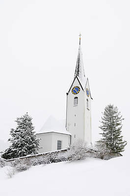 Church In Winter Poster by Matthias Hauser