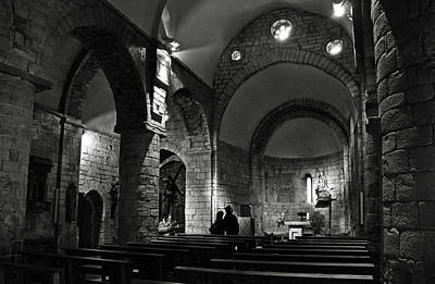 Church Of The Assumption Of Mary In Bossos - Bw Poster