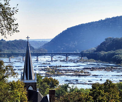 Church Overlooking Two Rivers At Harpers Ferry Poster