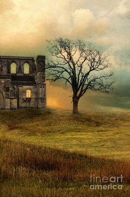Church Ruin With Stormy Skies Poster by Jill Battaglia