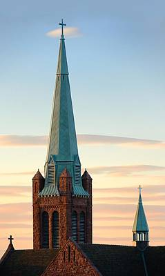 Church Spire At Day's End Poster by Jim Hughes