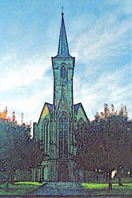 Church Steeple At Sunrise Poster by Dennis Lundell