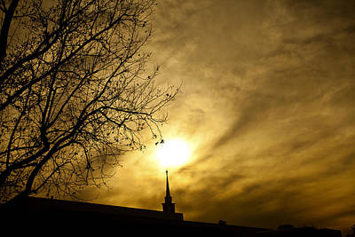 Poster featuring the photograph Church Steeple Clouds Parting by Jerry Cowart