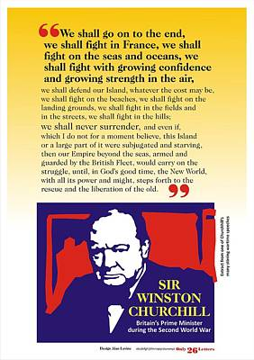 Churchill War Speech 1 Poster by Alan Levine