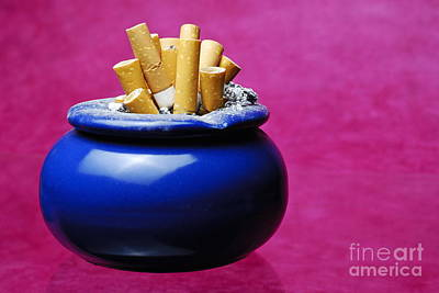Cigarettes Buts Into Ashtray Poster by Sami Sarkis