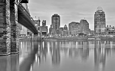 Cincinnati Black And White Poster