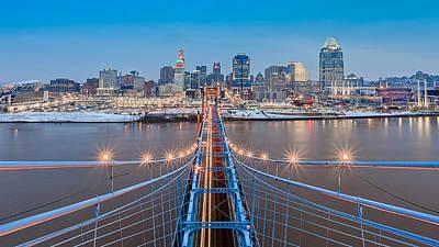 Cincinnati From On Top Of The Bridge Poster