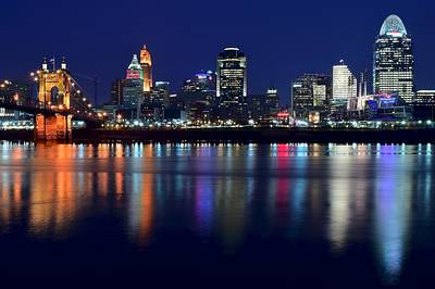 Cincinnati Ohio Blue Hour Poster by Frozen in Time Fine Art Photography