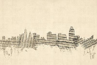 Cincinnati Ohio Skyline Sheet Music Cityscape Poster by Michael Tompsett