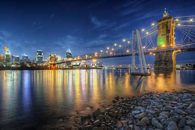 Cincinnati Skyline And Bridge At Night Poster