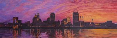 Poster featuring the painting Cincinnati Skyline by Andrew Danielsen