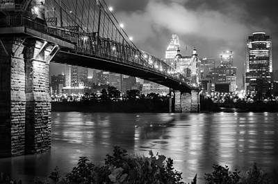 Cincinnati Skyline - John Roebling Bridge And Ohio River Poster by Gregory Ballos
