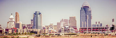 Cincinnati Skyline Retro Panorama Picture Poster by Paul Velgos
