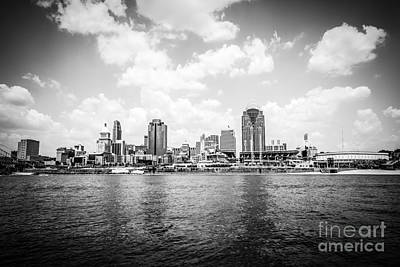 Cincinnati Skyline Riverfront Black And White Picture Poster