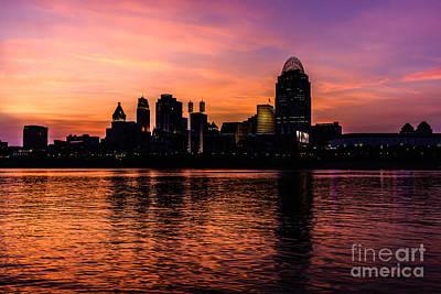 Cincinnati Skyline Sunset At Night Poster