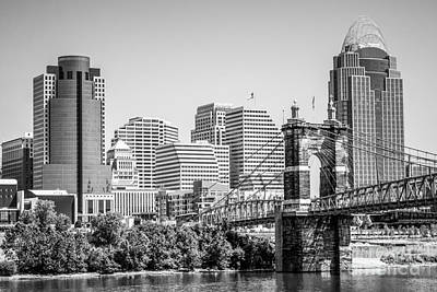 Cincinnati With Roebling Bridge Black And White Picture Poster