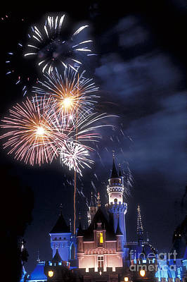 Cinderella Castle Fireworks Iconic Fairy-tale Fortress Fantasyland Poster by David Zanzinger