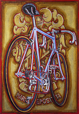 Poster featuring the painting Cinelli Laser Bicycle by Mark Howard Jones