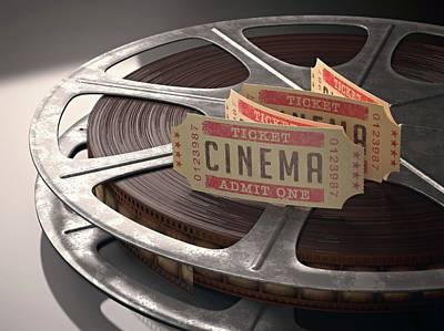Cinema Tickets And Movie Reel Poster