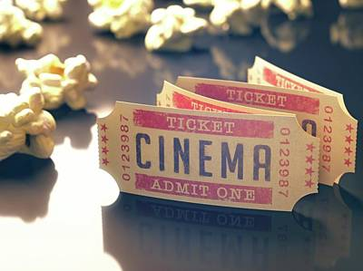 Cinema Tickets And Popcorn Poster by Ktsdesign
