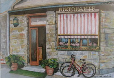Cinque Terra Cafe With Bicycle Poster by Melinda Saminski