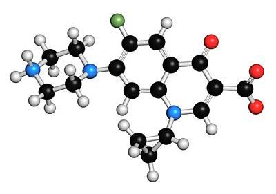 Ciprofloxacin Antibiotic Molecule Poster by Molekuul