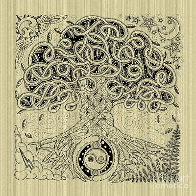 Circle Celtic Tree Of Life Inked Poster
