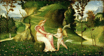 Circle Of Giorgione, Venus And Cupid In A Landscape Poster by Litz Collection