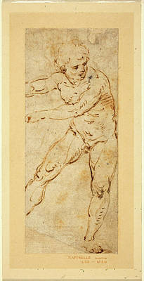 Circle Of Raphael, Italian 1483-1520, A Standing Male Nude Poster