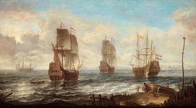 Poster featuring the painting Circle Of Sailing Ships by Jacob Adriaensz Bellevois