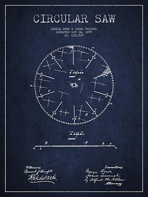Circular Saw Patent Drawing From 1899 Poster