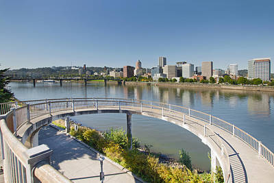 Poster featuring the photograph Circular Walkway On Portland Eastbank Esplanade by JPLDesigns