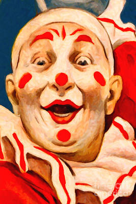 Circus Clown - 2012-1230 - Painterly Poster by Wingsdomain Art and Photography