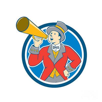 Circus Ringmaster Bullhorn Circle Cartoon Poster