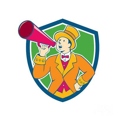 Circus Ringmaster Bullhorn Crest Cartoon Poster